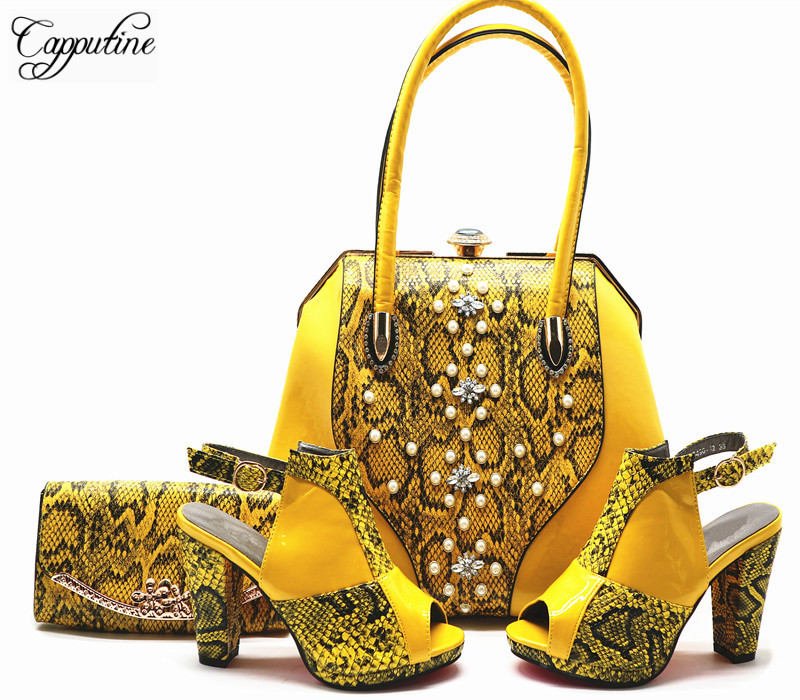 Capputine New African Design Ladies Shoes And Bag Set Nigerian Summer PU High Heels 12CM Shoes And Bag Set For Party G56 capputine 2018 summer african rhinestone shoes and bag set italian ladies high heels shoes and bag set for party tx 1136
