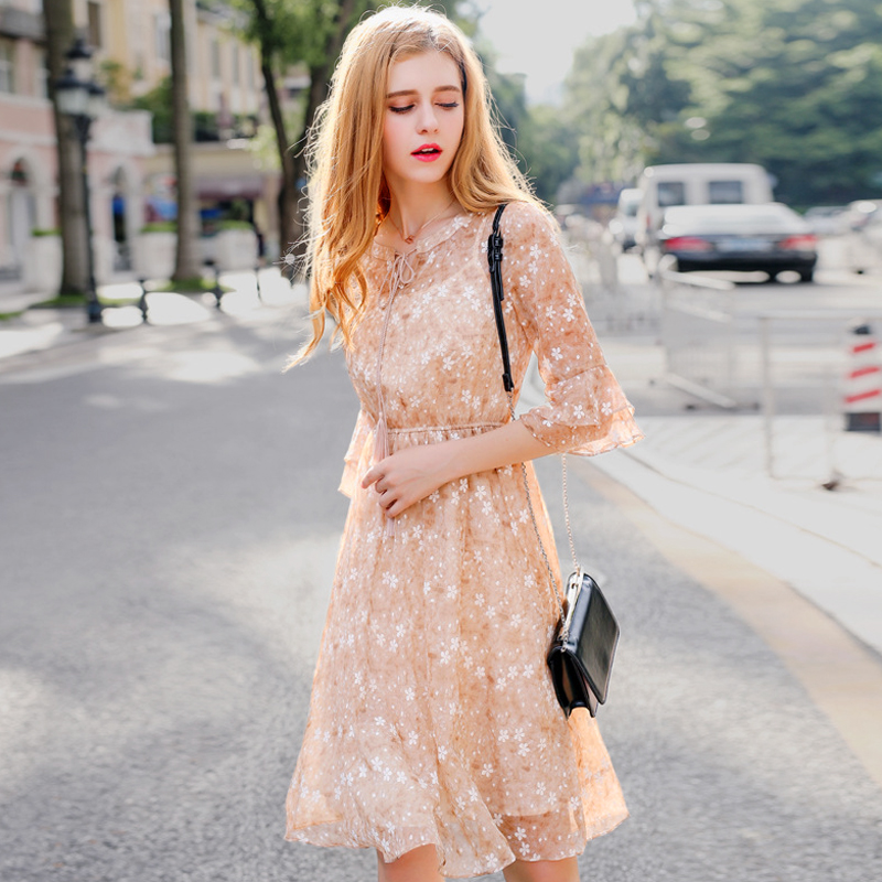 Summer Perspective Floral Print Chiffon Dress Round Neck Tassels Bow Tie Short Flare Sleeves Women short Elastic Elegant Dress