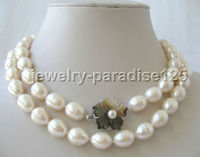 10X10 jewerly free shipping Genuine AAA 33 13mm white baroque freshwater pearl necklace