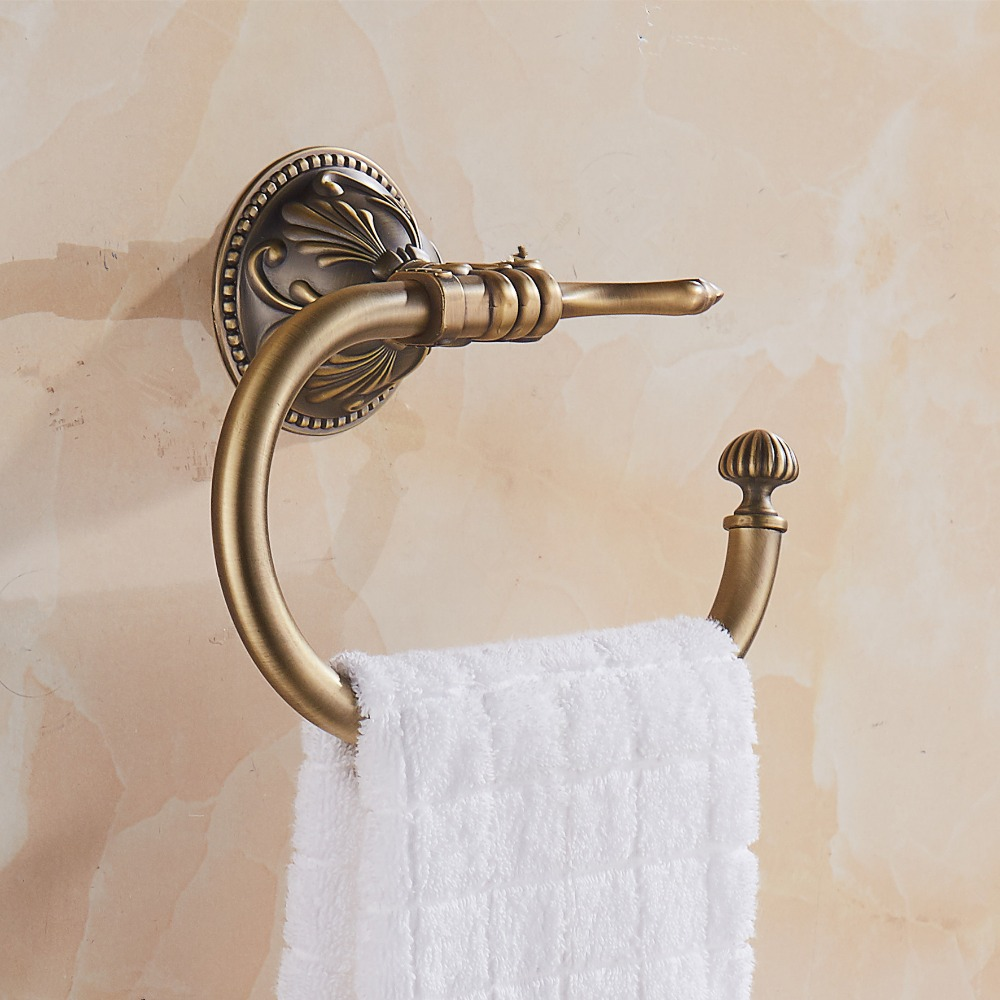 AUSWIND Carved Open Half Towel ring vintage bronze Leaves Carved Finish solid metal towel rings wall mounted bathroom accessory