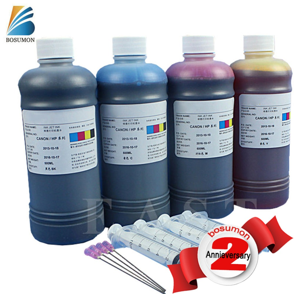 For canon ink 500ml  Black Magenta Blue yellow Universal refill ink cartridge high quality Dye ink for all models Compatible ink hp cb324he 178xl magenta ink cartridge
