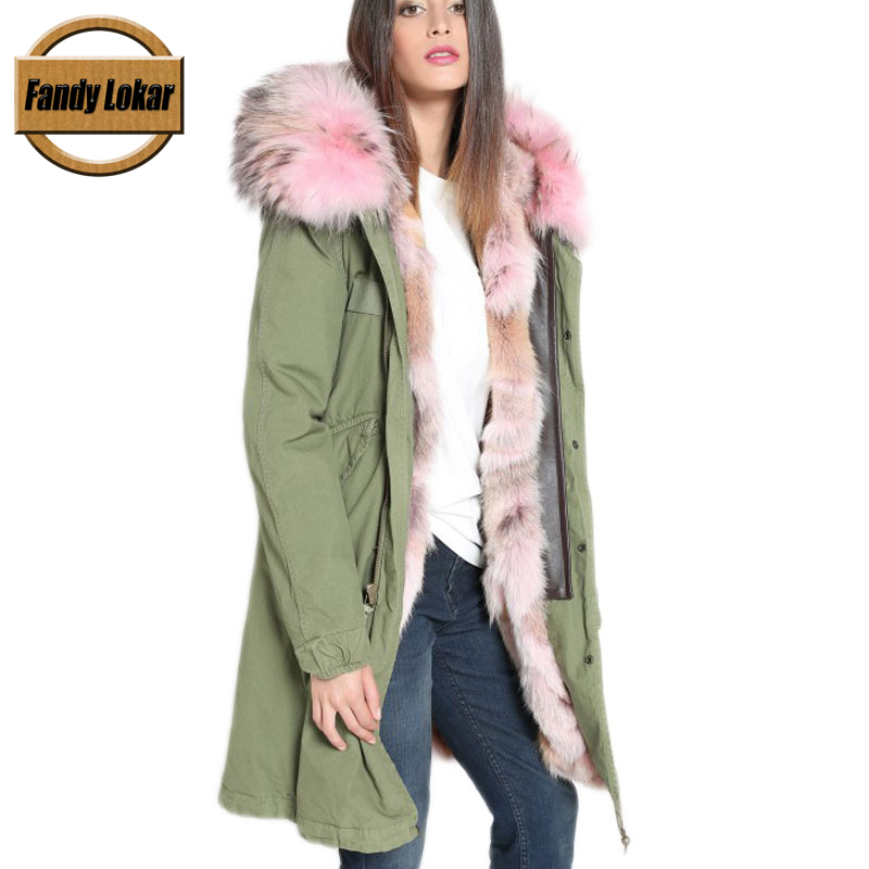 Solid Long Warm Raccoon Fur Collar Coat Women Winter Real Fox Fur Liner Hooded Jacket Women Bomber Parka Female Ladies FP9108 printed long raccoon fur collar coat women winter real rabbit fur liner hooded jacket women bomber parka female ladies fp896