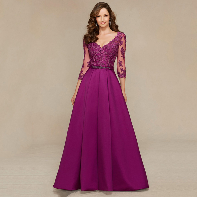 2017 Modest V Neck Satin Masquerade Formal Reception Evening Gowns Purple Lace Prom Dresses With Long