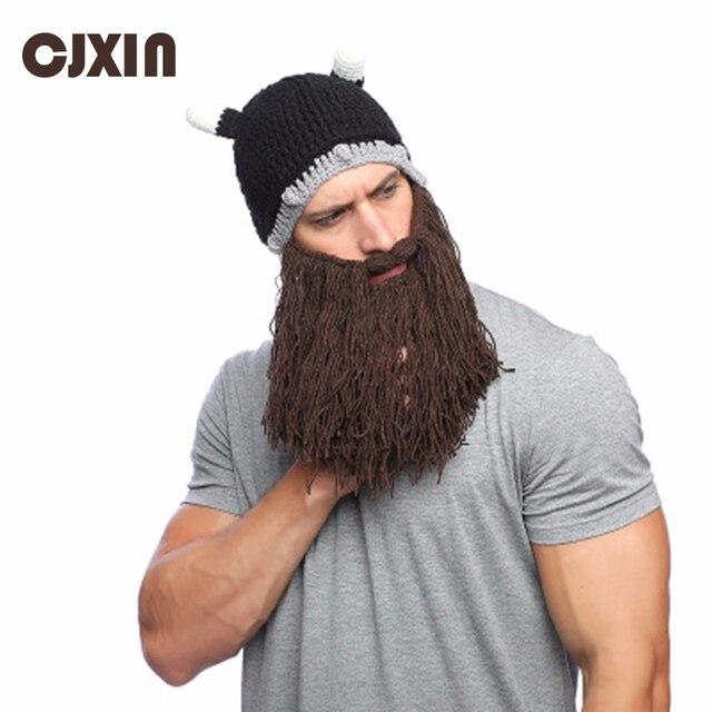 b4ae8e37777 CJXIN Adult Viking Beard Handwork Skullies Beanies Horn Hat Winter Warm  Mask Hat Wool Knitted Hat Funny Skull Beanie Caps