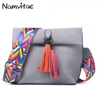 Namvitae Women Leather Messenger Bag Tassel Crossbody Handbags Famous Brand Ladies Shoulder Bag New Designer Women