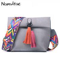 Namvitae Women Leather Messenger Bag Tassel Crossbody Handbags Famous Brand Ladies Shoulder Bag New Designer Women