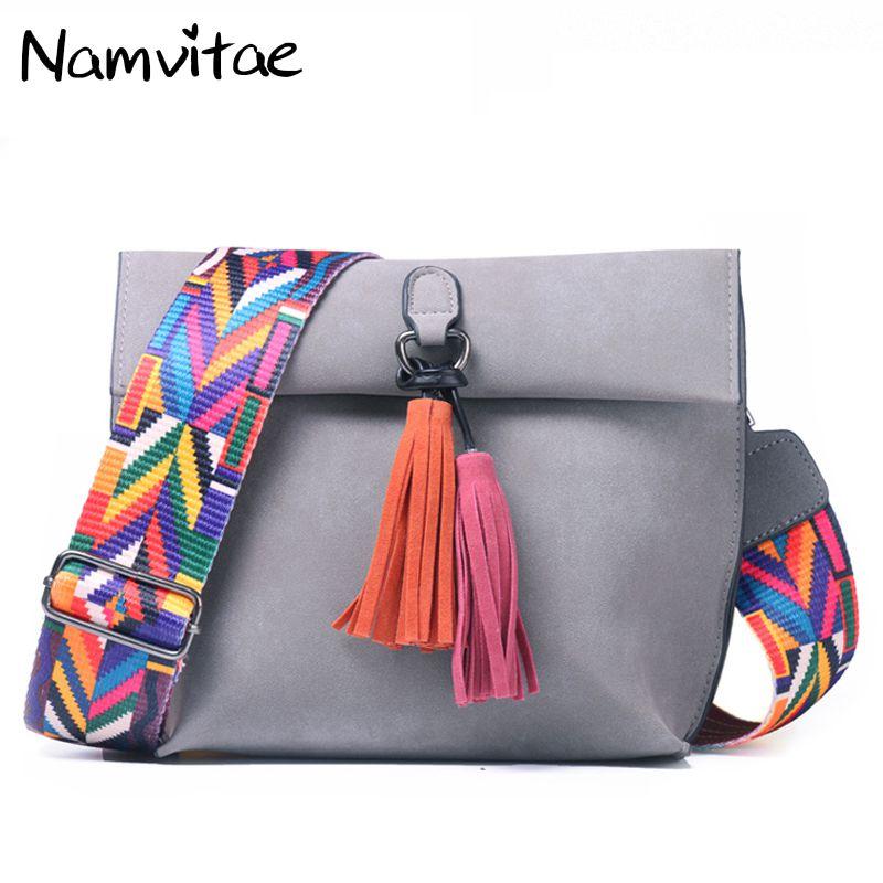 Vintage Tassel Women Shoulder Bags Colorful Strap Handbag Famous Brand Solid Women Flap Messenger Bags Bolsas Femininas