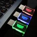 Novo Cristal de vidro Carros Logotipo USB Flash Drive 4 GB 8 GB 16 GB 32 GB 64 GB Vermelho/azul/Verde do DIODO EMISSOR de luz, USB Pen Drive Flash Memory Stick