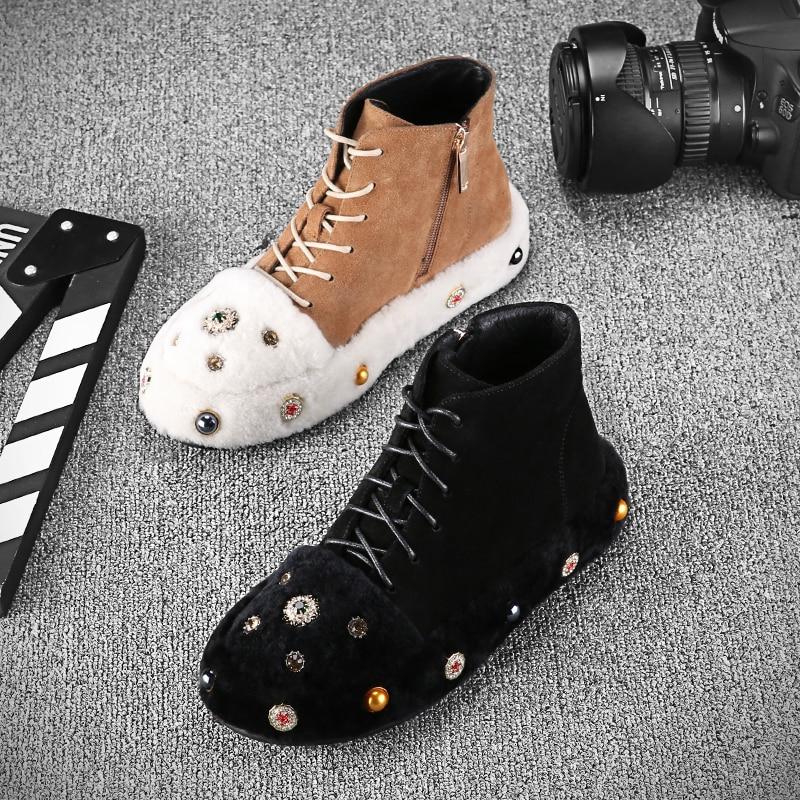 Dernière D'hiver Lacets Laine Perle Show À as Luxe As Chaussures Show Mode 2019 En Cuir Cristal Bottes Véritable De dxRw1nffWH
