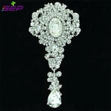 Dangle Flower Brooch Pins Pendant Women Broach Bridal Wedding Jewelry Clear Rhinestone Crystal Accessories 6177
