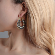 Jewelry New Bohemian National Style Retro Hollow Carving Pattern Temperament Earrings Rhinestone