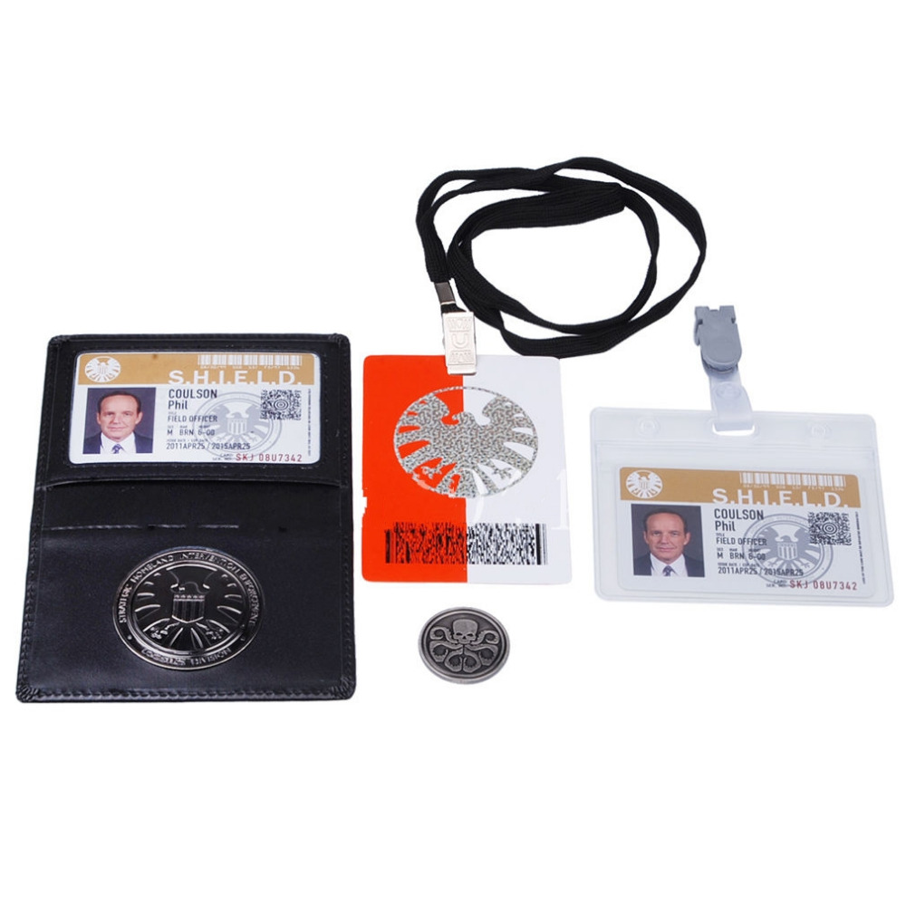 AGENTS OF S.H.I.E.L.D SHIELD BADGE IN HOLDER PHIL COULSON'S 2 CARDS WITH FREE COIN
