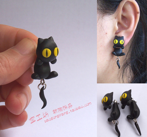 Diy Polymer Clay Soil Earring Accessories Black Cat Ear Stud Personality Fashion Earrings