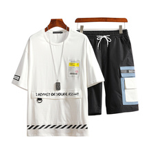 M-XXXL 2019 two piece set top and pants casual mens short sets summer clothes for men tracksuit male clothes