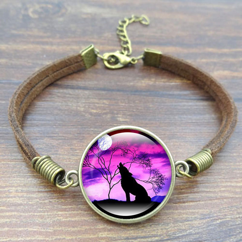 Popular Charm Bracelets 2: Howling Wolf Moon Charm Bracelet Fashion Handcrafted DIY