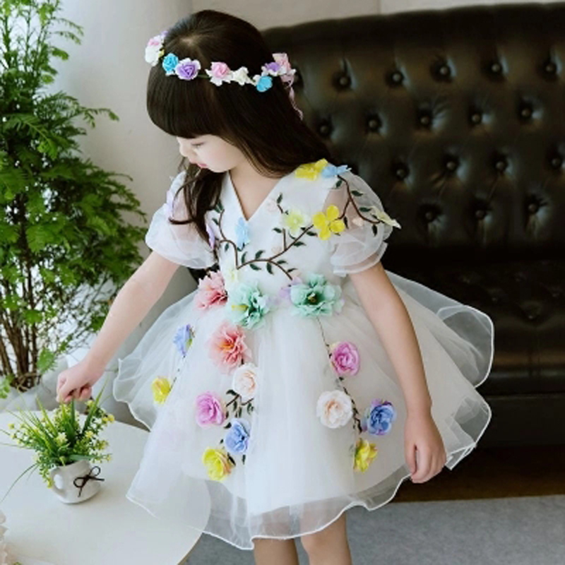 2018 Girls Princess Wedding Children's Dress Flower Fairy Costume Half Sleeve Flower Girl Dress Ball Gown Kids Pageant Dress E39 half dress roobins half dress