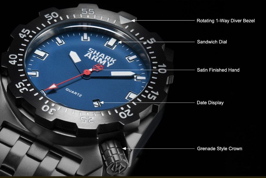 Shark Army Top Brand Man Watch Luminous 10ATM Water Resistant Blue Surfing Military Full Steel Quartz Sport Wristwatches /SAW188 16