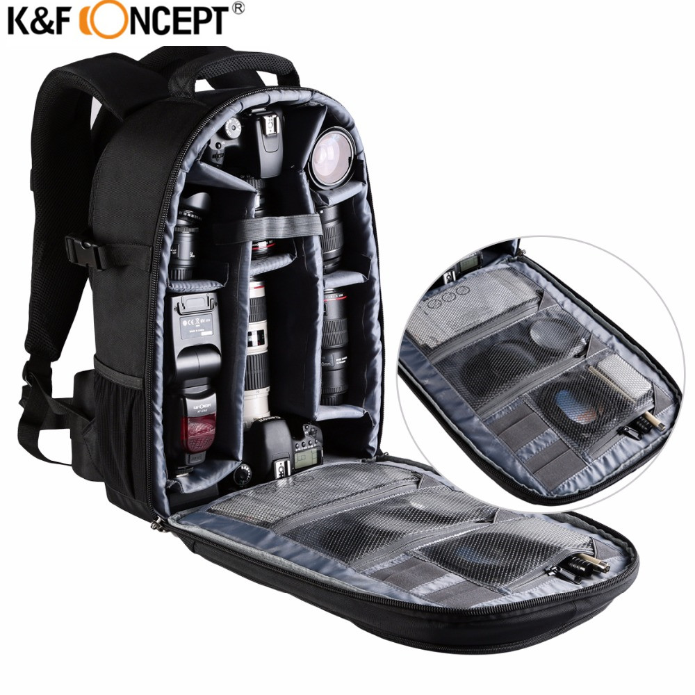 K&F Professional Shockproof Camera Backpack Large Capacity Multifunctional Bag Waterproof  Video Photo Bags for Canon Nikon Sony 2017 jealiot multifunctional professional camera bag laptop backpack video photo bags waterproof shockproof case for dslr canon