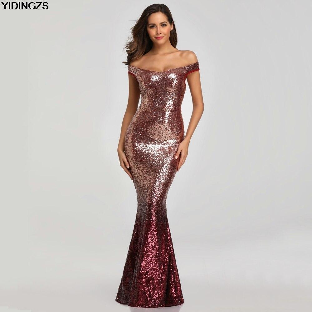 YIDINGZS Sequins   Evening     Dress   Women Long Sparkle Elegant   Evening   Party   Dresses