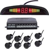 Car Front And Back LED Parking Sensor Kit 8 Sensor 22MM Backlight Display Reverse Radar Vehicle