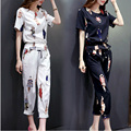 2017 mujeres del verano del resorte sets impreso tops + pants moda de dos piezas de ropa de las mujeres de alta calidad de las mujeres Traje Deportivo chándales