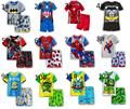 Kids Pajamas Summer kids boys cotton sleepwear cartoon pattern pajamas 2pcs Superman baby sleepwear child short sleeve pajams