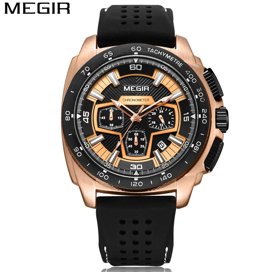 MEGIR Heren Casual Horloges Siliconen Band Waterdicht Militair - Herenhorloges - Foto 6