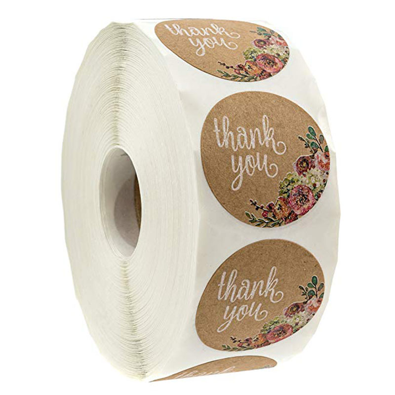 500 Labels per roll Round Natural Kraft Thank You Sticker seal labes Hand Made With Love Sticker Paper Stationery sticker 4