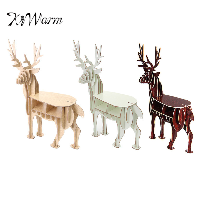 benutzerdefinierte home office schreibtische und stuhl kiwarm mode diy ausgezeichnete 3d holz puzzle modell elch hirsche tier home office ornament dekor schreibtisch set 2016 new art wooden desk furniture creative moose bookshelf
