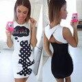 Verão sexy women dress mini mouse dots imprimir carta dress vestidos voltar oco bandage vestidos sem mangas bainha do vintage