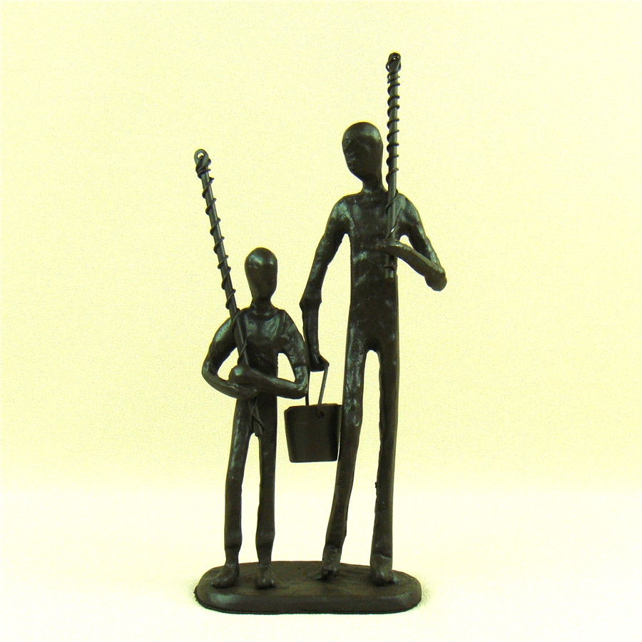 Cast Iron Father And Son Figurine Abstractive Metal