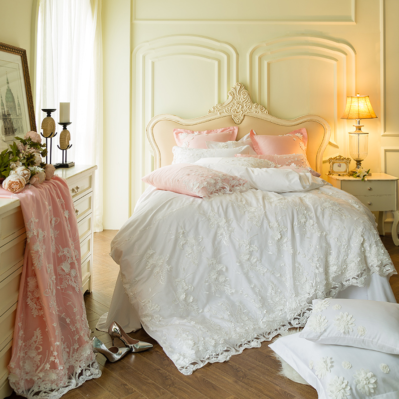 White Pink Blue Lace Princess girl 60S Egyptian cotton Wedding Bedding Set Duvet Cover Bed sheet Pillowcases Queen King 4/7pcsWhite Pink Blue Lace Princess girl 60S Egyptian cotton Wedding Bedding Set Duvet Cover Bed sheet Pillowcases Queen King 4/7pcs