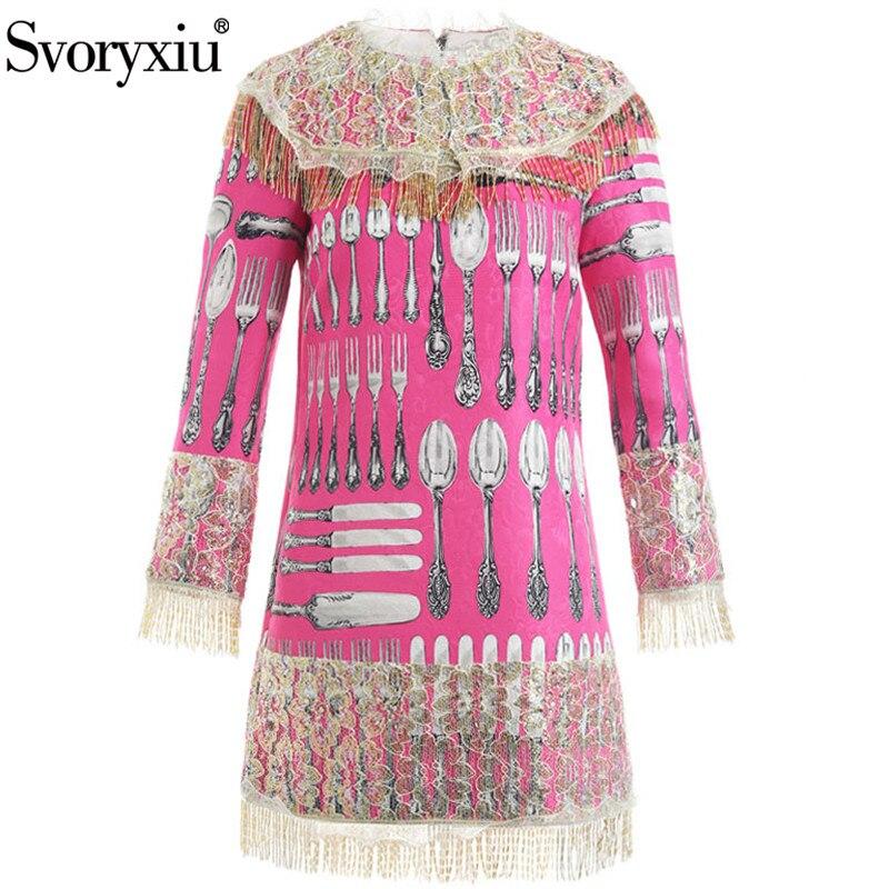 Svoryxiu Autumn Winter Runway Jacquard Short Dress Women's luxury Gold Beading Tassel Lace Pink Tableware Printed Party Dresses