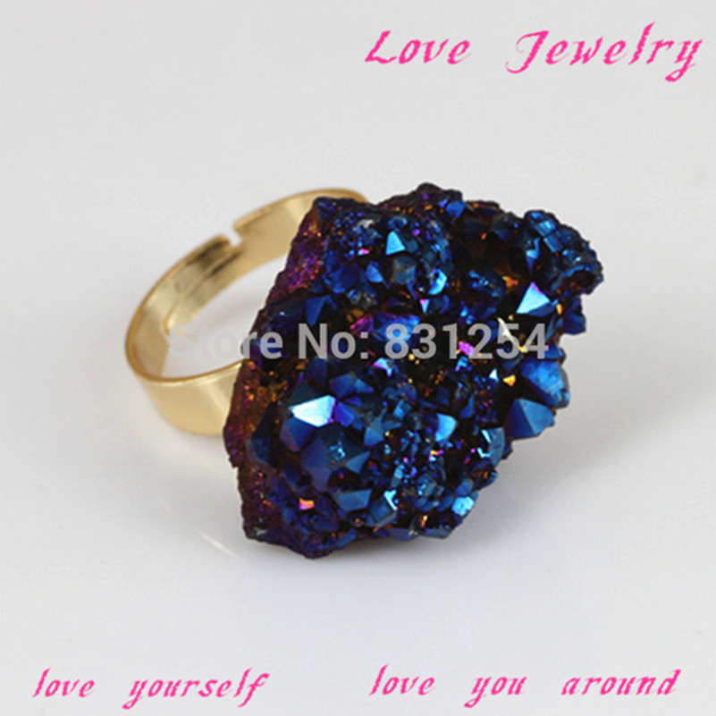 1pc Hot Sale Raw Stone Ring Natural Drusy Stone Charm Finger Ring Fashion Stone Women Rings Statement Lsd-0169 Nourishing The Kidneys Relieving Rheumatism