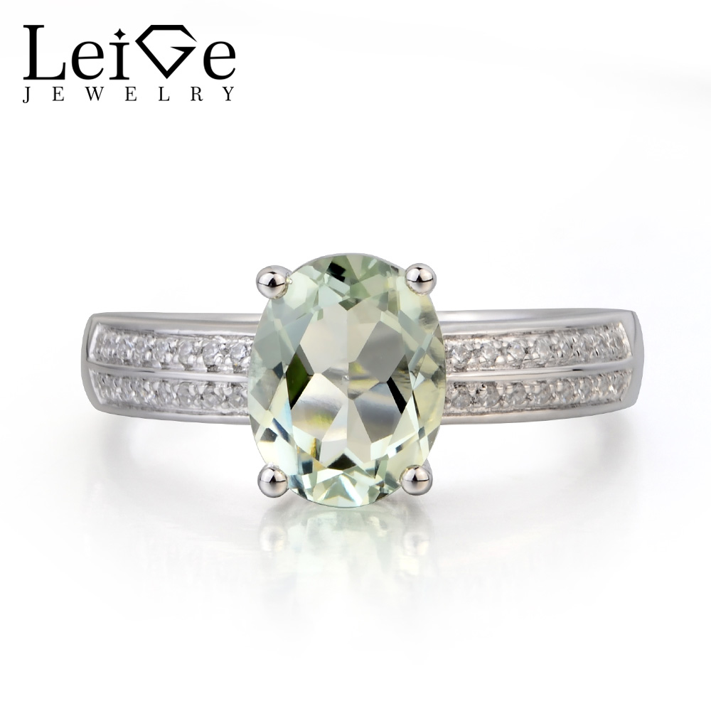 купить Leige Jewelry Wedding Ring Natural Green Amethyst Ring Oval Cut Green Gemstone 925 Sterling Silver Ring Romantic Gifts for Her по цене 6799.75 рублей