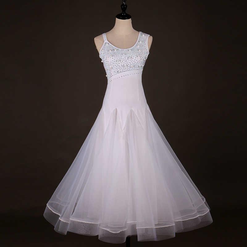 Роскошные Бальные Танцевальные соревнования Платье Фламенко стандартные танцевальные платья Вальс Танго D0413 белый со стразами большой отвесный подол