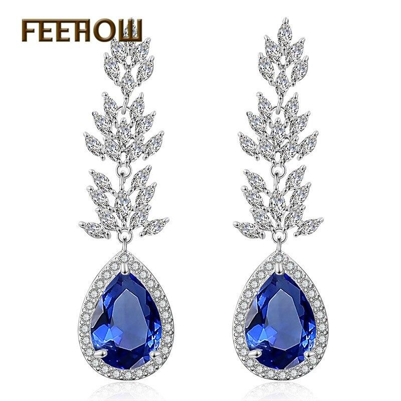 FEEHOW Water Drop Shaped Cubic Zirconia Dangle Earrings for Elegant Women Leaf Bridal Wedding Jewelry FWEP2180