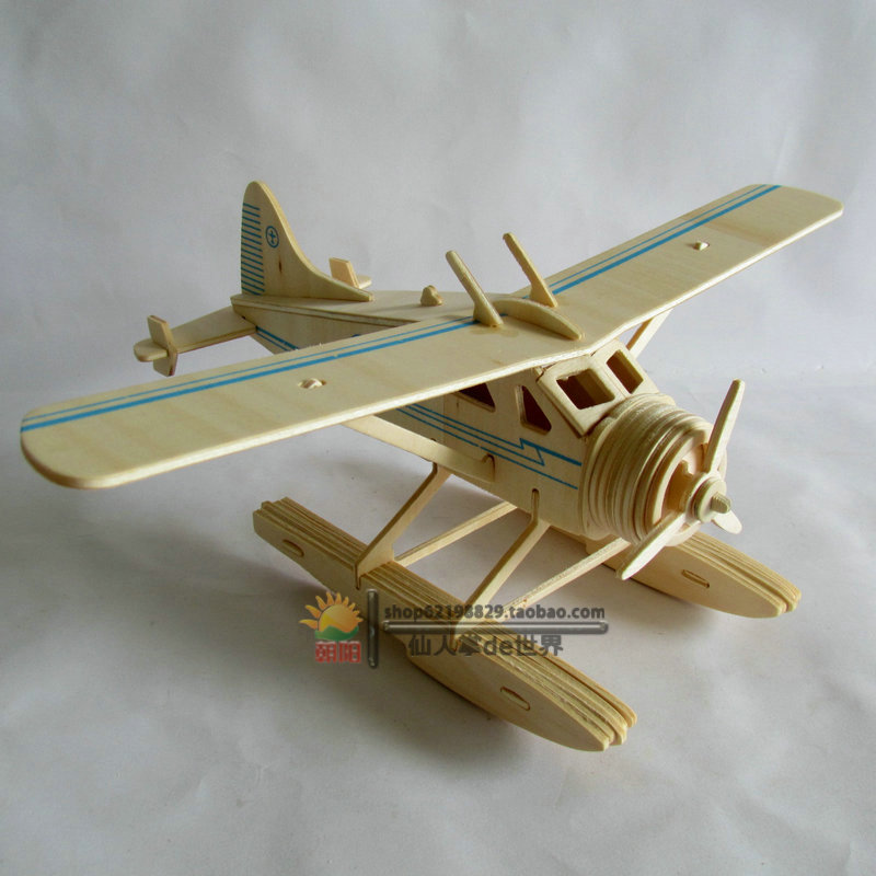 Hot Sale Educational Toys 3d Plane Model Wooden Puzzles Handmade Beaver Airplane Wooden Aircraft Kids Plane Puzzle