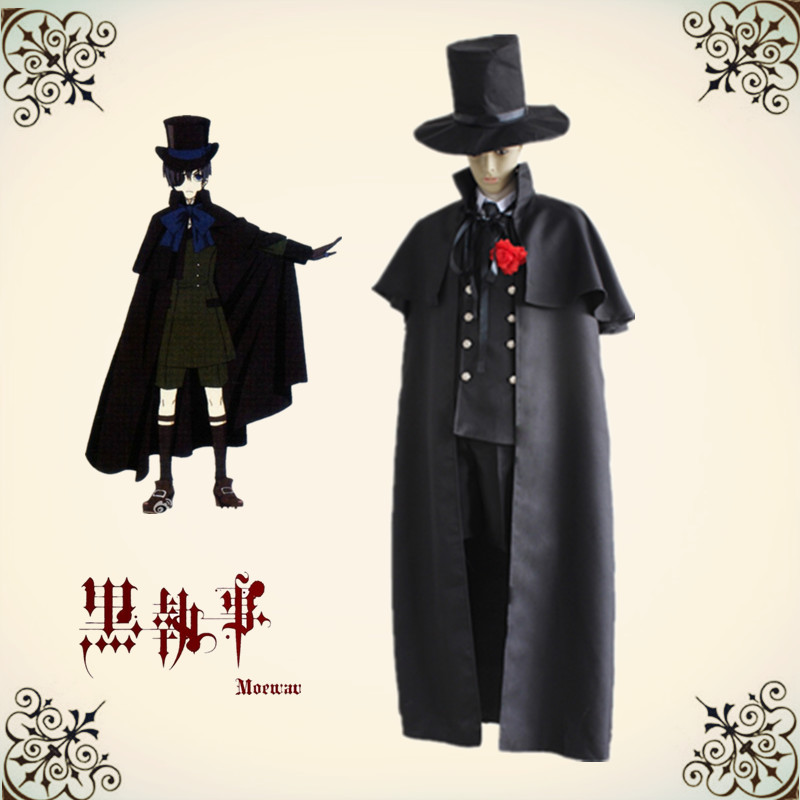 Anime Black Butler Ciel Phantomhive costumes Black Funeral Gown Full dress for helloween party dres