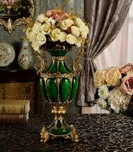 European high quality binaural wealth jade resin Big vase Furnishing articles