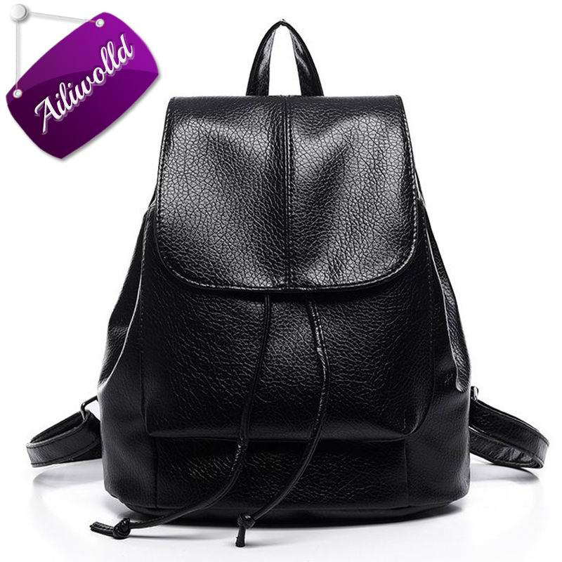 Drawstring Women's Leather Backpack School Bags Backpacks for Teenage Girls Ladies Travel Bags  Fashion Female Mochila Feminina drawstring bags