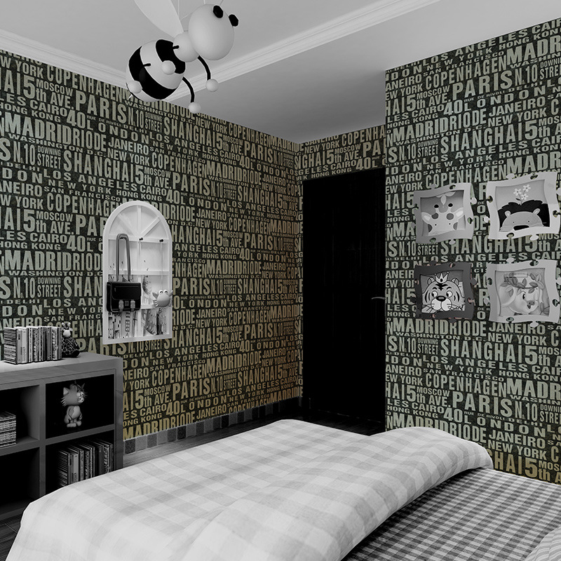 Beibehang Simple and elegant wallpaper living room television background wall English letters children's room 3d wallpaper roll beibehang wallpaper simple and lovely