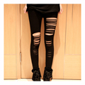 Fation Sexy Hot Black womens Ripped Torn Slashed Leggings Pants