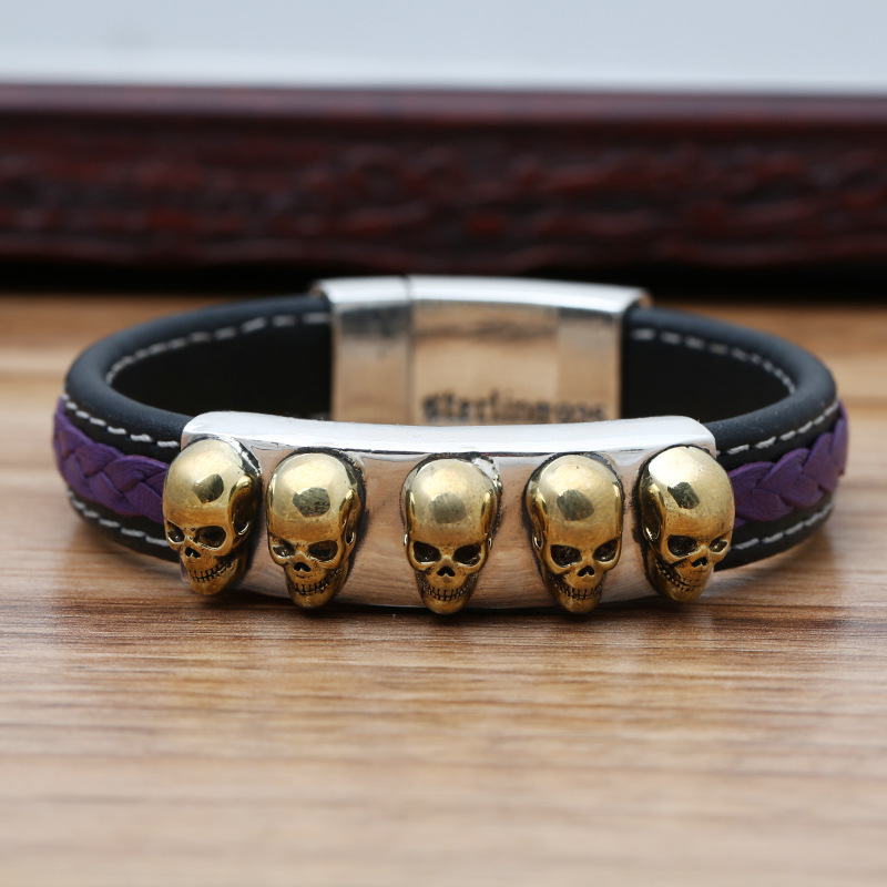 Starfield S925 Sterling Silver Jewelry Male Female Models Skull Scalp Bracelet&Bracelet Homme s925 pure silver personality female models new beeswax