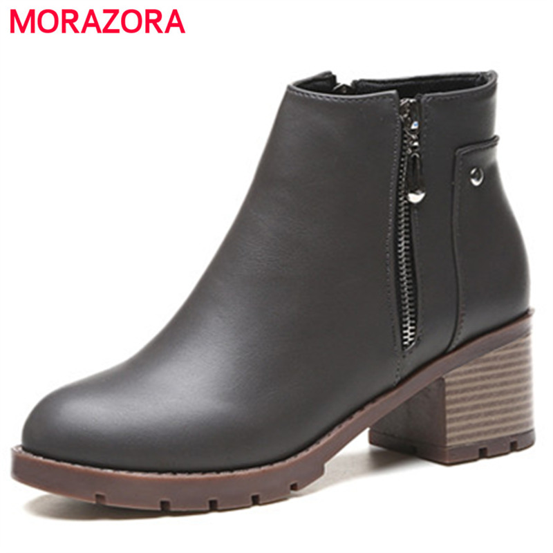 MORAZORA Square heels shoes woman spring autumn fashion boots PU soft leather ankle boots zipper round toe gray black enmayla fashion front zipper ankle boots women chucky heels square toe high heels shoes woman black yellow suede autumn boots