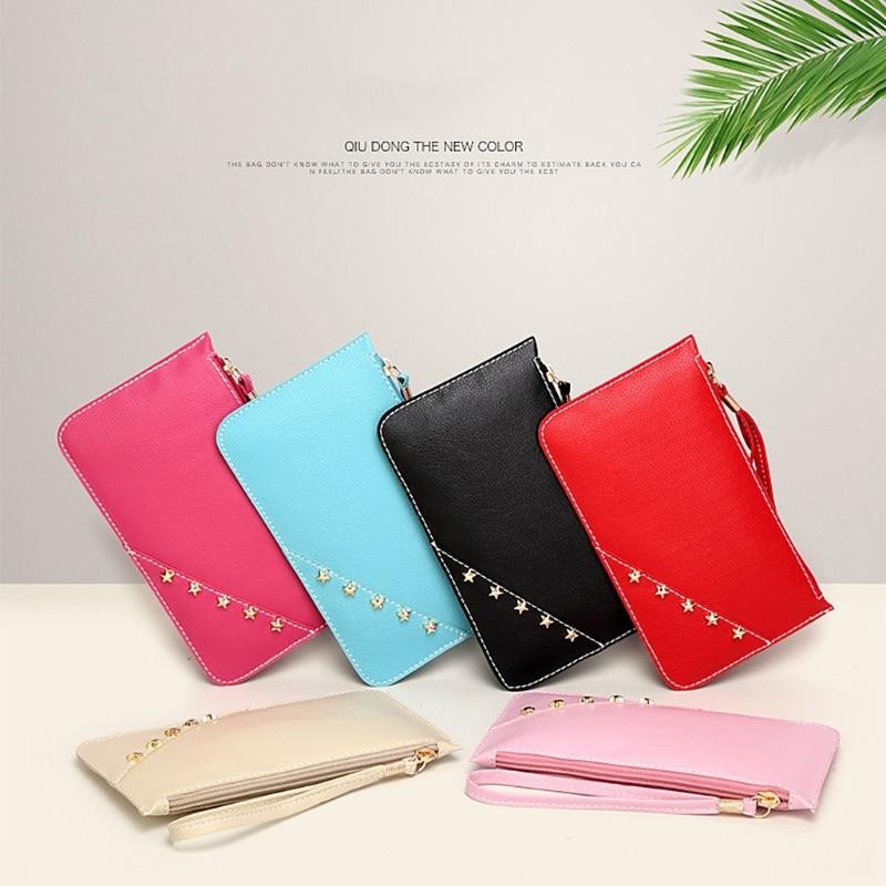 Women Lady Wristband Wallet Long Card Holder Phone Bag Case Purse Handbag thinkthendo women leather card phone holder long arrow wallet checkbook tassel handbag purse