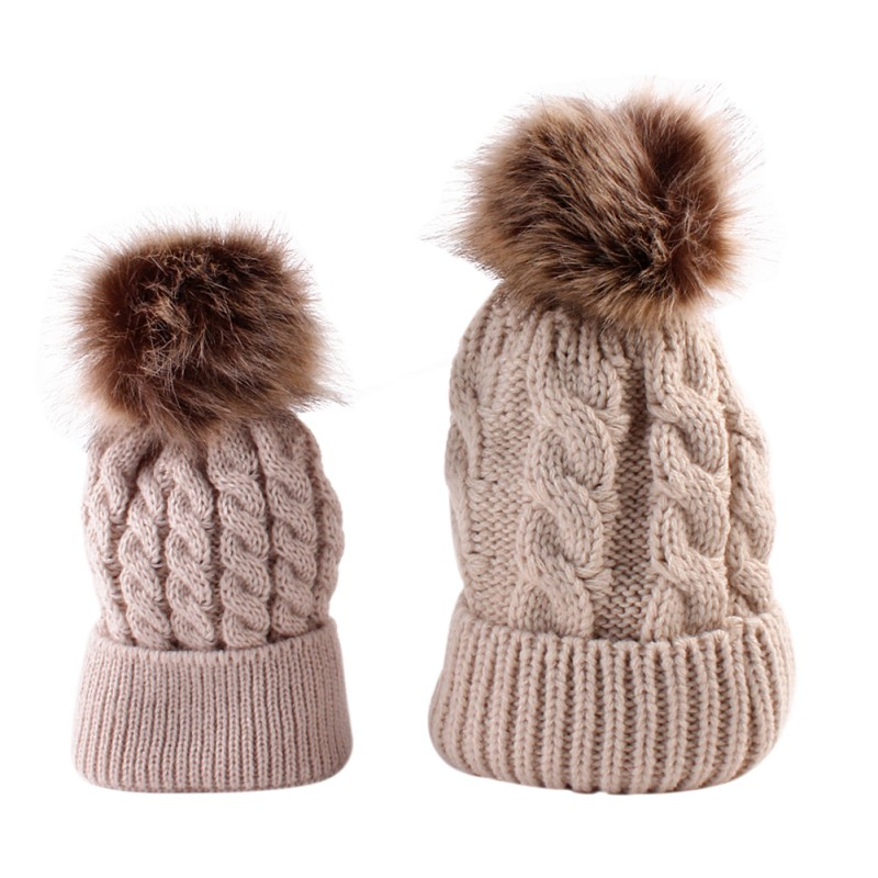 цены  Warm Winter Solid Color Faux Fur Crochet Parent-child hat Caps Lovely Mothers Baby Knit Hats Fashion Beanie Skullies 2pcs/set
