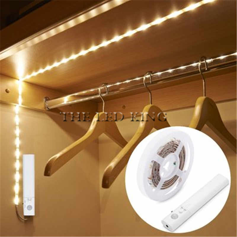 1m 2m 3m 5m SMD2835 not Waterproo PIR Motion Sensor Bed Cabinet Closet LED strip Nigh light 60leds/m DC5V powered TV Decor light