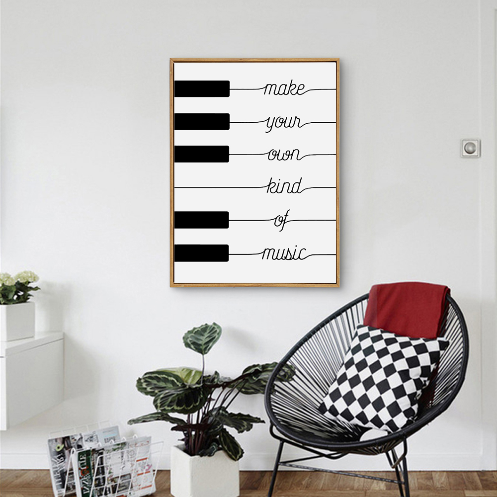 Poster design your own - Make Your Own Kind Of Music Black White Poster Design Nordic Canvas Art Print Nursery Pictures On The Wall Family Home Decor In Painting Calligraphy From
