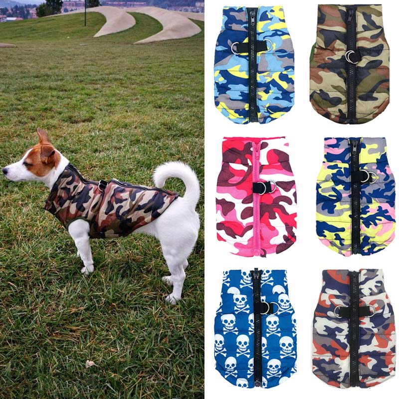 <font><b>Waterproof</b></font> <font><b>Dog</b></font> <font><b>Coat</b></font> <font><b>Winter</b></font> Puppy Clothes Camo Pattern Small <font><b>Dog</b></font> Jacket Chihuahua Yorkie Clothing image